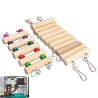 Wholesale V1NF Flexible Mouse Hamster Parrot Hanging Ladder Bridge Wooden Toys Cage Accessories