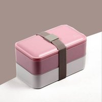 Wholesale 2016 New Double Tier Bento Lunch Box Pink Gray Blue Color Large Meal Box Tableware Microwave Dinnerware Set Food Containers ML
