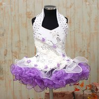 girls pageant dresses size 14 - Little Girls Beautiful Hot Sale Girl s Glitz Pageant Dress Purple White Size New Custom Made Soldebelz