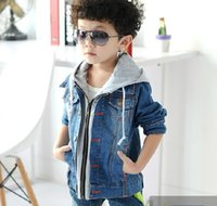 baby boy denim jacket - Korean Style Spring Baby Boys Denim Blue Jacket Long Sleeve With Hoodied Cowboy Tops Coats Children Outwear Cardigan Single Breasted J3180