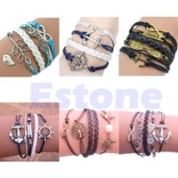 Wholesale L1096 styles Hot Handmade Infinity Rudder Anchor Peace stylish Bracelet unique Gift