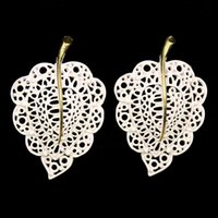 baroque sculptures - 139 Korean jewelry exaggerated retro big solitary paint hollow sculpture Baroque palace leaves big earrings