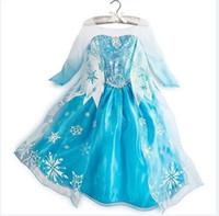 TuTu Summer Ball Gown 2014 Frozen dresses Elsa Princess Dress Fashion Long Sleeve Lace Yarn Elsa Costume Snowflake Printed Girls Dresses Kids Clothes(1701005)