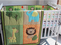 baby boy bedding sets - 3D stereo embroidery Lions giraffes elephants Animals Pieces Baby Boy Crib Cot Bedding Set Include Quilt Bumper Fitted Sheet fashion