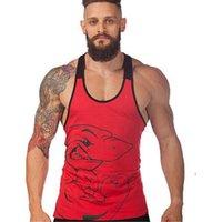 best active wear - Men Print Shark Tank Tops Close fitting Cotton Tank Tops for Men Best Sleeveless O neck Gym Wear for Boys Hot Sale