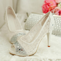 achat en gros de dentelle blanche chaussures de strass-Crystal strass dentelle robe de mariée chaussures ouvertes Peep Toe talons aiguille blanc femmes dame Cocktail soir nuptiale accessoires 2015 Cheap