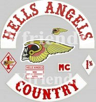 Wholesale DIY HELLS ANGELS Patches for Jacket Back Full Size MC Biker Patches Embroidered Patches Motorcycle Surport Customized