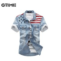 american flag collar - New American flag jeans shirts for men Fashion motorcycle jeans short sleeves shirt do old jeans denim size M XXL LJF77