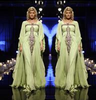 Cheap 2015 New Arrival A Line Lime Green Chiffon Abaya Rhinestones Long Sleeve Muslim Maxi Dress Dubai Kaftan Arabic Evening Dresses