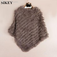 Wholesale Knit knited rabbit fur Shawl poncho stole shrug cape robe tippet amice wrap