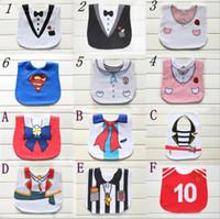 Wholesale Baby Tuxedo Gentleman Feeding Bibs Baby Kids Waterproof Superman Pinny Burp Cloths Designs