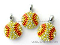 al por mayor llavero de diamantes de imitación-10pcs softball con encantos pendientes del Rhinestone Hang 15x15mm apta DIY pulsera / collar / cadena dominante / Teléfono tira HC360