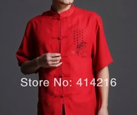 Wholesale colors men s new summer short sleeve pure cotton Shirts male man tradtional Tang suits kung fu clothing tops bigsales