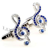 Wholesale 6 Pairs Multicolor Music Note Rhinestone Cufflinks Men s Cuff Links Gift Jewelry Wedding Retail