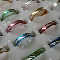 Band Rings aluminum wedding gifts - 1Set jewelry ring pretty multicolor women men aluminum alloy Rings New LR088