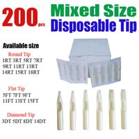 achat en gros de x encre de tatouage-Gros-Solong Tattoo 200 x Disposable Tattoo Tips blanc couleurs assorties Mixte Taille pour Kit Grip Needle d'encre TPB-200