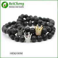 bc white - BC Jewelry Black Lava Rock Stone Bracelet Men Silver Gold Plated Micro Pave CZ Cubic Zirconia Crown Charm Bracelets Pulseras Hombre BC
