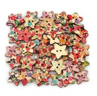 Cheap 100pcs bag DIY wooden buttons mix colorful star shapes clothes scrapbook button for craft sewing scrapbooking sewing accessories