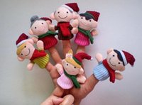Wholesale DHL happy family Christmas finger puppets soft cloth baby plush toys bed story talking hand puppet educational toy in sto