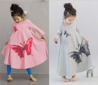 Wholesale Children Clothing Dress Long Sleeve O neck Ink Butterfly Print Baby Girl Dress Q128