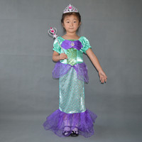 Wholesale New Kids Costumes Girls Cospaly Dresses the little mermaid Ariel Princess Costume Girl Cosplay dress set