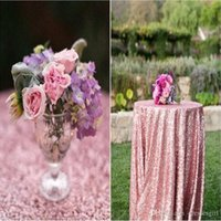 Wholesale Personalized m Round Table Cloth Rose Gold Sparkly Tablecloth Champagne Beautiful Elegant Wedding Table Linens Sequin Table Cloth