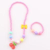 Wholesale Fashion Cute Children Cherry Necklace Jewelry Set Girl Kids Baby Fruit Bow Necklace Bracelet Set JJAL ST71