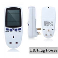 Wholesale Freee shipping Power Energy Watt Voltage Amps Meter Analyzer UK Plug Power Electricity Usage Monitor Watt Voltage Amps Monitor
