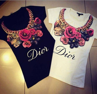 girls white shirts - Women Short Sleeve T Shirt Big Girl Rose Flower Printing T Shirt Tops Lady Flower Pendant Necklace Tops Women Clothes Black White J1155E
