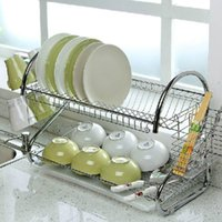 Wholesale Hot Sale Tier Chrome Plate Dish Cutlery Cup Drainer Rack Drip Tray Plates Holder Silver Kitchen Storage Shelf KC36491
