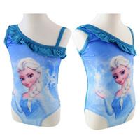 Wholesale 2014 New Girls Frozen Swimwear Girls Frozen SwimSuit Swim Wear One Piece Swim Bodysuit Frozen Anna Elsa Swimsuit Purple Frozen
