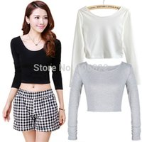 Wholesale FG1509 Women Cut Out Crooped Tops Long Sleeve T shirt Clubwear Cropped Top