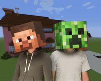 Wholesale Hot Sale Minecraft Masks Steve Creeper Zombie Box head mask set Party masks paper model Headgear cm