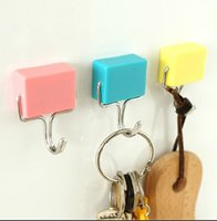 Wholesale 2pcs Strong Magnetic key hooks refrigerator a single metal ABS plastic powerful magnets storage hooks load bearing kg