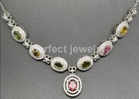 Wholesale Necklace Tourmaline necklace Natural real tourmaline sterling silver Perfect jewelry Fine gemstone jewelry DH