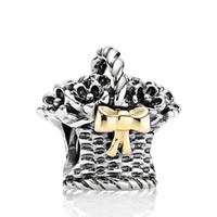 basket jewelry - Sterling Silver Flower Basket Charm Beads With Bowknot European Charm Bracelets Snake Chain Jewelry