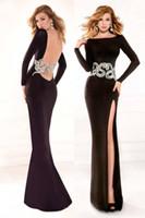black velvet dress - Tarik Ediz Spring Evening Dress Sheath Long Prom Gown Bateau Neck Long Sleeve Hollow Back Split Side Applique Velvet Celebrity Dresses