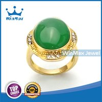 bezel set emerald rings - 2015 Winmax Fall Winter New Stainless Steel Finger Ring for Women with K Gold Plating Emerald Agate Stone Inlaid