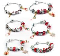 Cheap New 2015 Fashion Christmas Theme Ball Charm Bracelet For Women Girls Ladies Bead Bracelet Gift Jewelry Krystal Pebble Bracelet Mix Colors