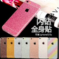 Wholesale Full Body Glitter bling Screen Protector Sparkle shimmer Whole Film Skin Shinny Sticker front Back for iPhone SE S S s plus free DHL