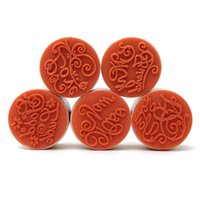 Wholesale 6pcs Excellent quality DIY Assorted Retro Vintage Floral Flower Pattern Round Wooden Rubber Stamp Scrapbook x2 cm