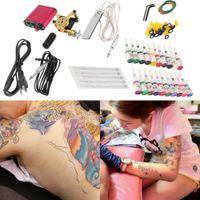 Cheap New Tattoo Machines Gun Equipment Power Supply 20 Color Ink Cup Tattoo Set Brand New