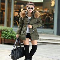 Wholesale New Woman Outwear Winter Jacket Women Parkas Thick Coat Women Parkas Army Green Large Raccoon Fur Collar Hooded Coat