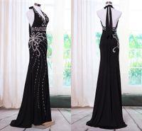 Cheap Black Beaded Evening Dresses 2015 V Neck Elegant Long Prom Dress Fashion Imported Open Back Kaftan Abaya in Dubai Crystal Evening Gowns Oli