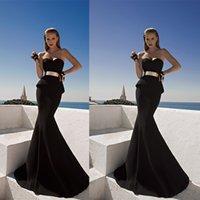 Cheap Black Vestido De Feista Sweetheart Corset With Peplum Metallic Belt Mermaid Evening Dress 2015 New Ball Gowns