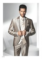 Wholesale 2015 Slim Fit Groom Tuxedos Flat Collar Best man Flat Collar Groomsman Men Wedding Suits Bridegroom Custom Made Jacket Pants Tie Vest