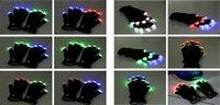 Wholesale modes LED Rave Light Finger Lighting Flashing Glow Gloves Black for christmas party