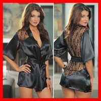 Wholesale S new Sexy Lingerie Satin Lace Black Kimono Intimate Sleepwear Robe Night Gown