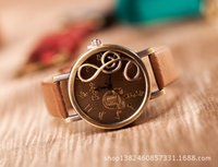 Wholesale Musical Note Dial Quartz Movement Watch with PU Leather retro watches free ship