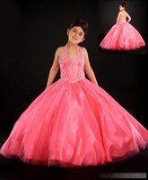 Wholesale 2015 New Crystal Beaded Halter Floor Length Little Girl s Long Pageant Dress Kids Pageant Gown Kids Prom Dresses Custom Made